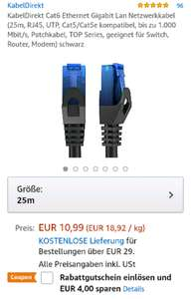 Amazon: 25m Lan Kabel Cat6 mit Coupon für 7,99€ UPDATE: nun ein ähnliches für 6,99€