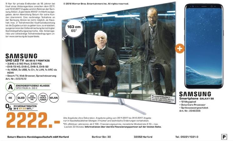 Saturn Herford Samsung 65Q7F + Galaxy S8 für 2222,-  weitere QLED mit Handy Samsung Superdeals