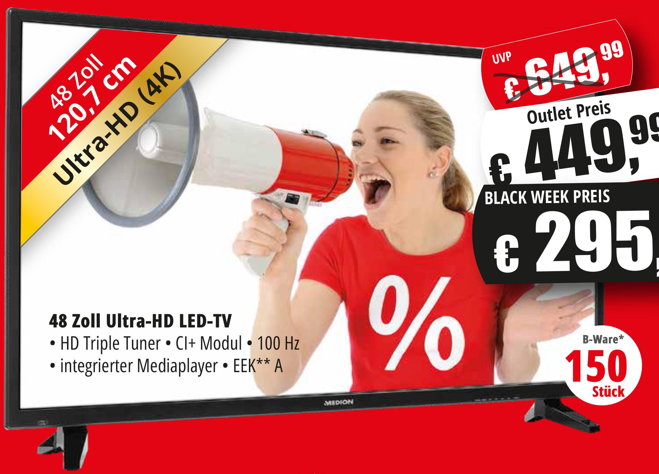 (Lokal in Essen) Medion 48 Zoll Ultra-HD mit Triple Turner für 295€