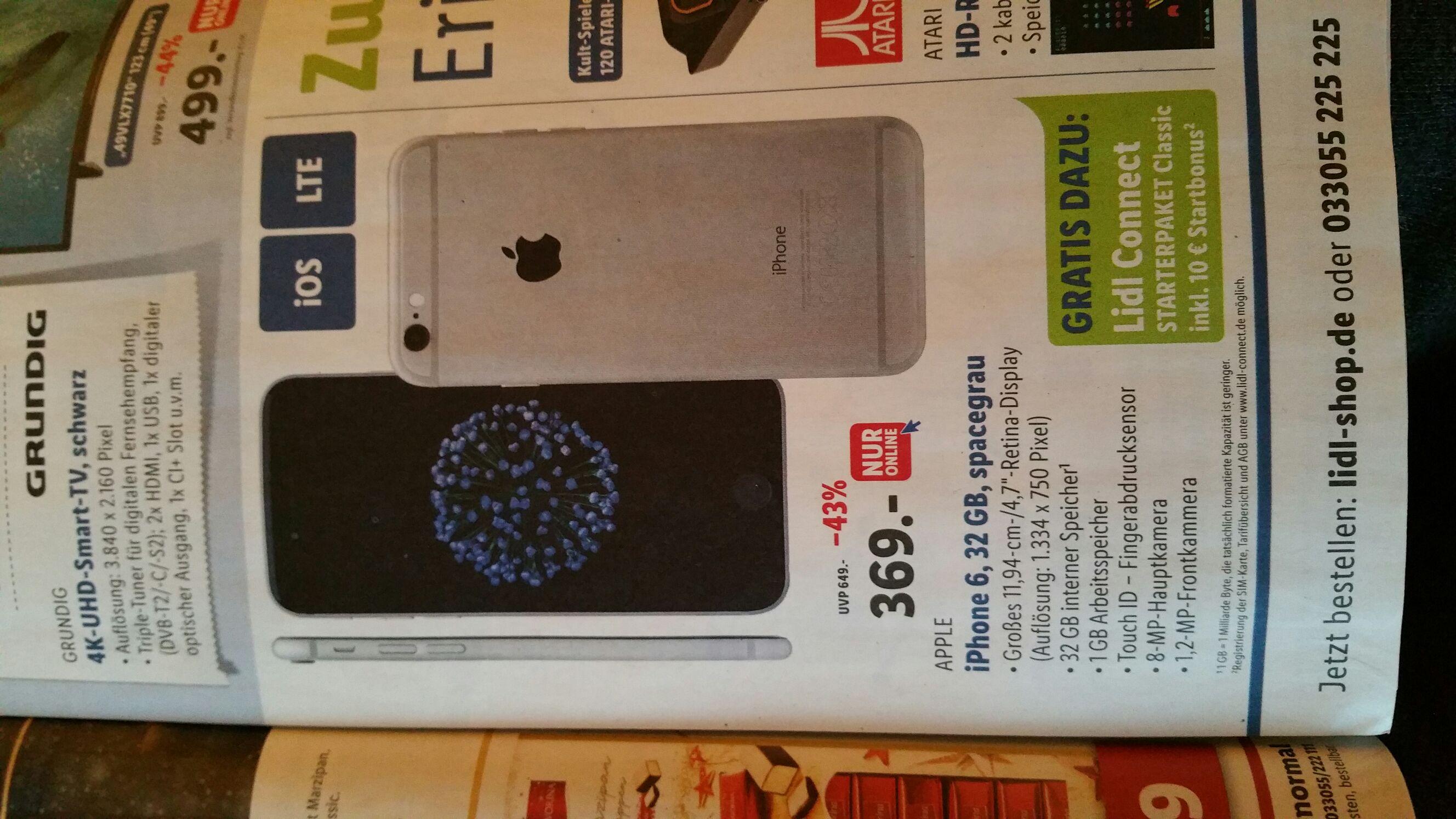 IPhone 6 32 GB Spacegrau Lidl Online 369€