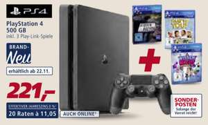 [real,-] [ab 22.11.] Playstation 4 Slim 500 GB inkl. 3 PlayLink-Spielen für 221,00 € plus 1773 Payback-Punkte (17,73 €)