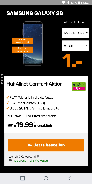 Samsung Galaxy S8 mit Telekom Tarif für 520€