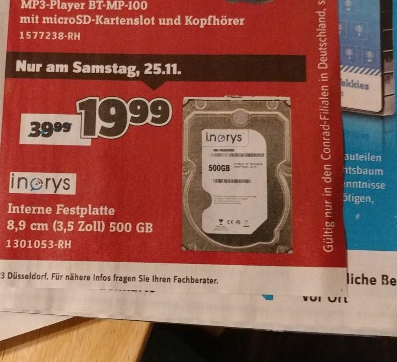 500 GB 3,5 interne Festplatte bei Conrad