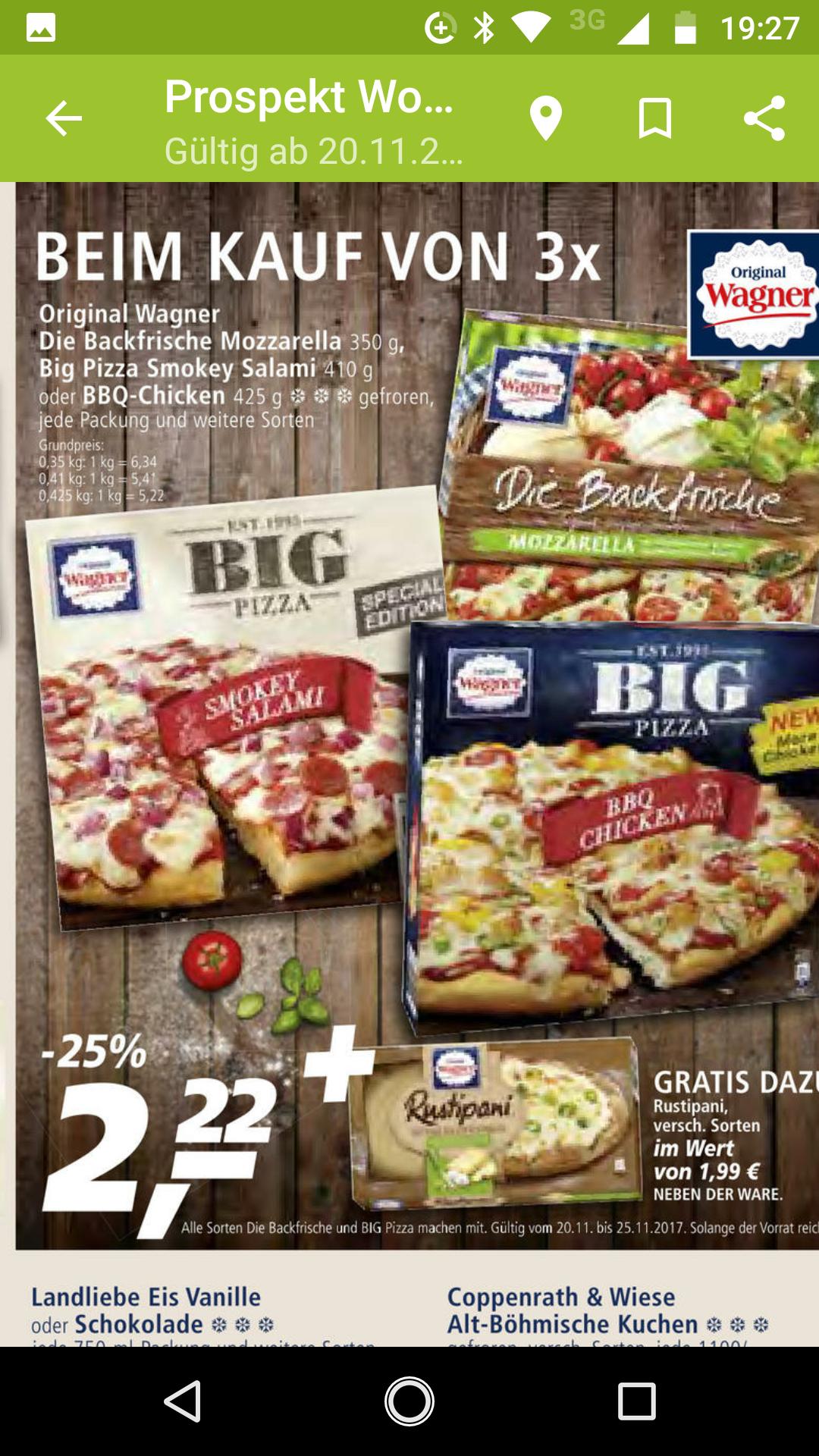 3x Wagner Pizza für 6,66€+ 1x Rustipani Gratis