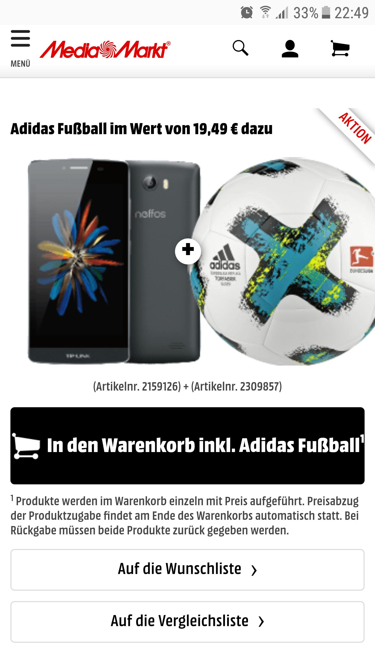 "[Saturn/Media Markt/Redcoon] TP-Link Neffos C5 16GB/2GB Ram/Dual Sim/5"" Zoll/ Dual Sim/ Versandkostenfrei + Adidas Fussball"
