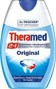 Amazon Sparabo : Theramed Zahncreme 2in1 Original oder Non-Stop White, 4er Pack (4 x 75 ml)
