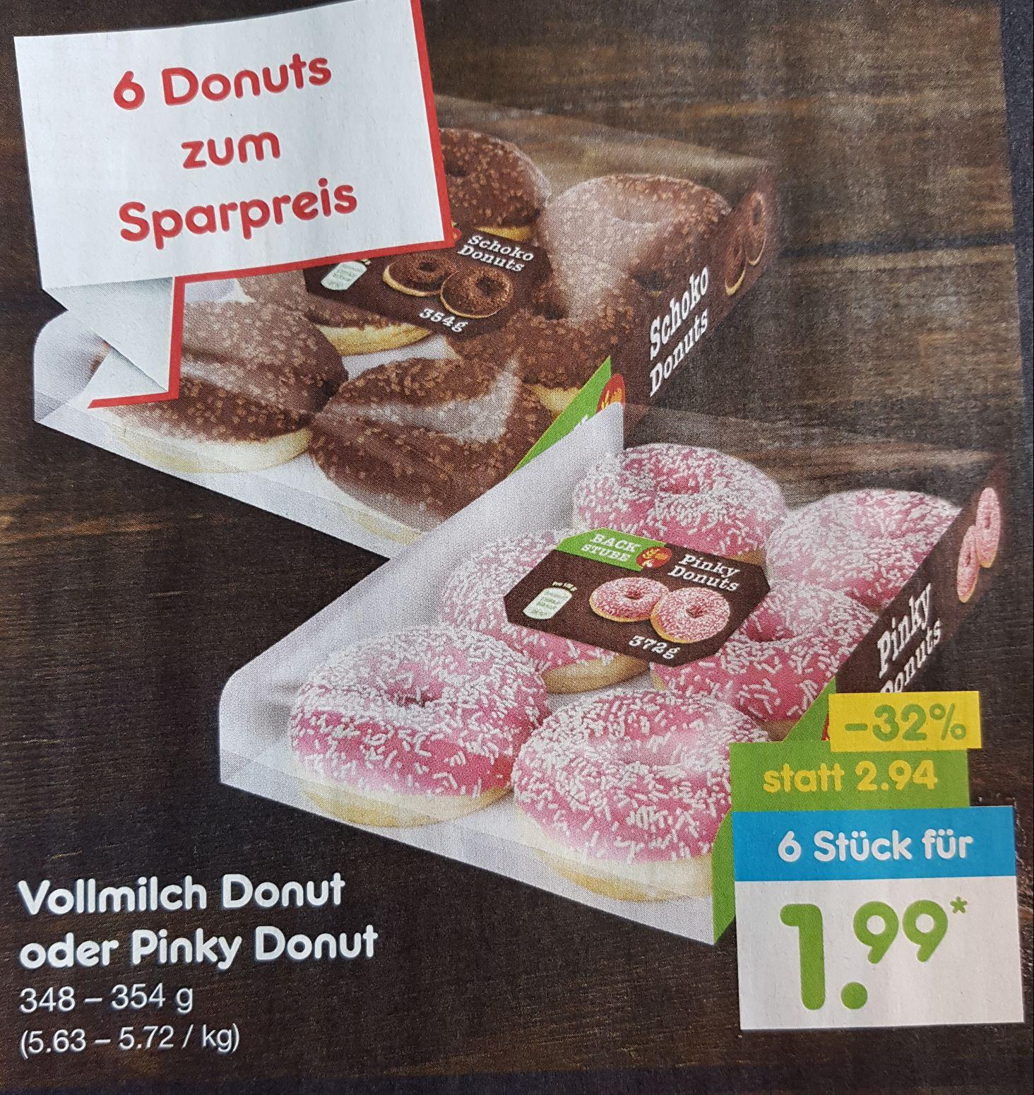 [Netto] Bundesweit Vollmilch Donut oder Pinky Donut 6 Stück