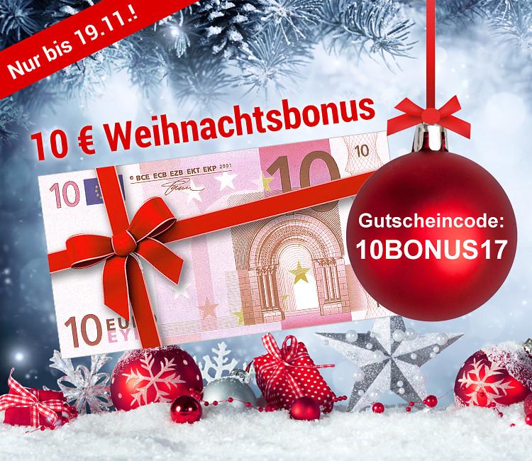 10.- € Gutschein als Weihnachtsbonus (50 Mbw)