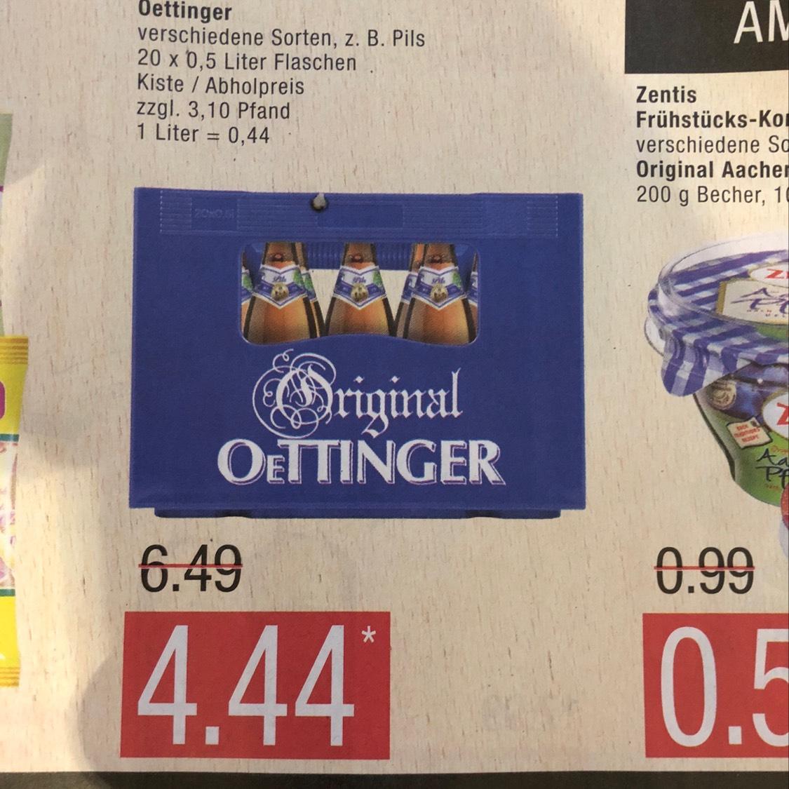 [Marktkauf] Oettinger verschiedene Sorten 20x0,5 - Liter 0,44€ am 25.11.17