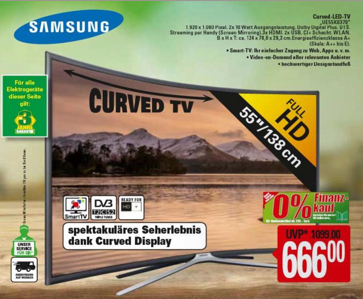 (Lokal Marktkauf Burg) Samsung UE55K6379 Curved LED TV 55 Zoll