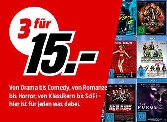 Media Markt: 3 Blu-rays für 15€