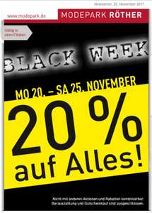[offline] Black Week: 20% Rabatt bei Modepark Röther