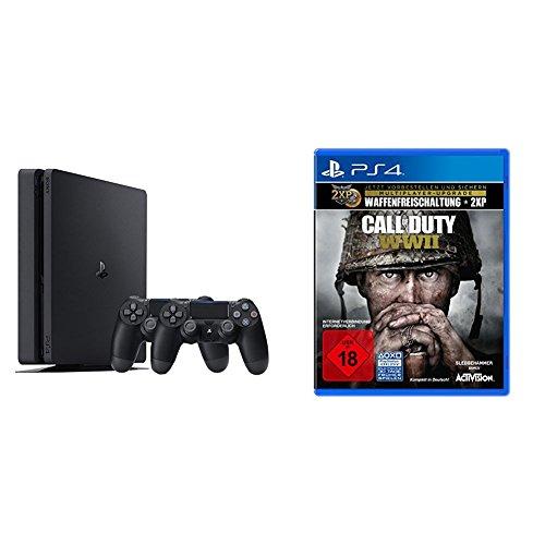PlayStation 4 - Konsole (500GB, schwarz, slim) inkl. 2. DualShock Controller + Call of Duty: WWII Amazon.de