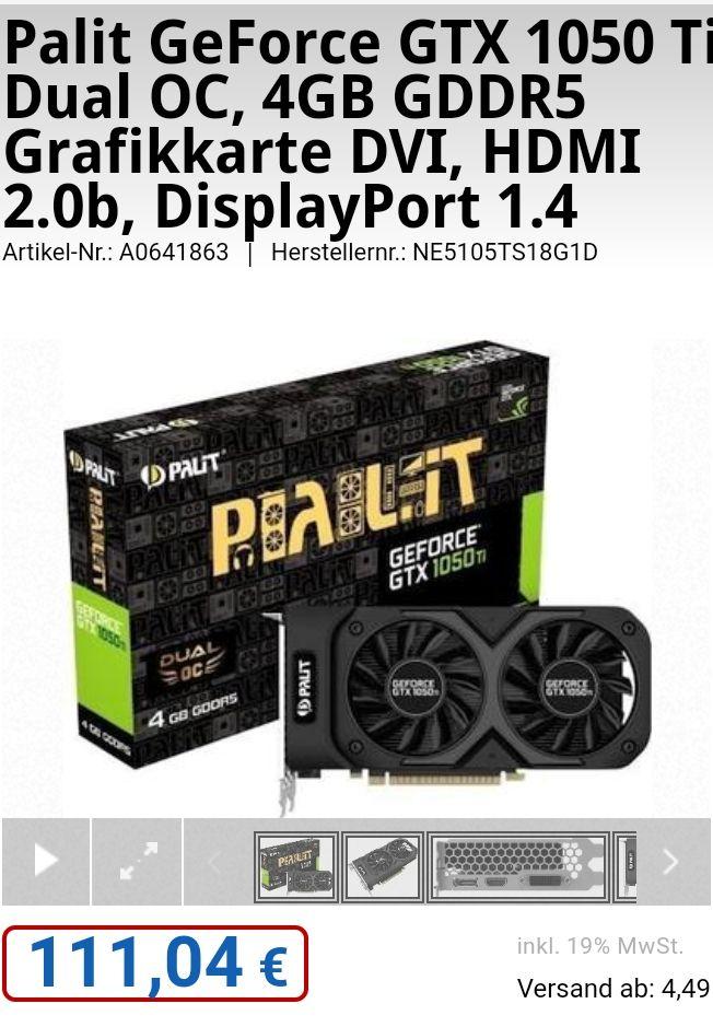 Palit GeForce GTX 1050 Ti Dual OC, 4GB GDDR5 Grafikkarte