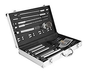 "[Amazon WHD] Rustler RS-0524 Grillbesteck Set im Aluminium Koffer, 18-teilig, silber, 58 x 10,5 x 4 cm - Zustand ""wie neu"""