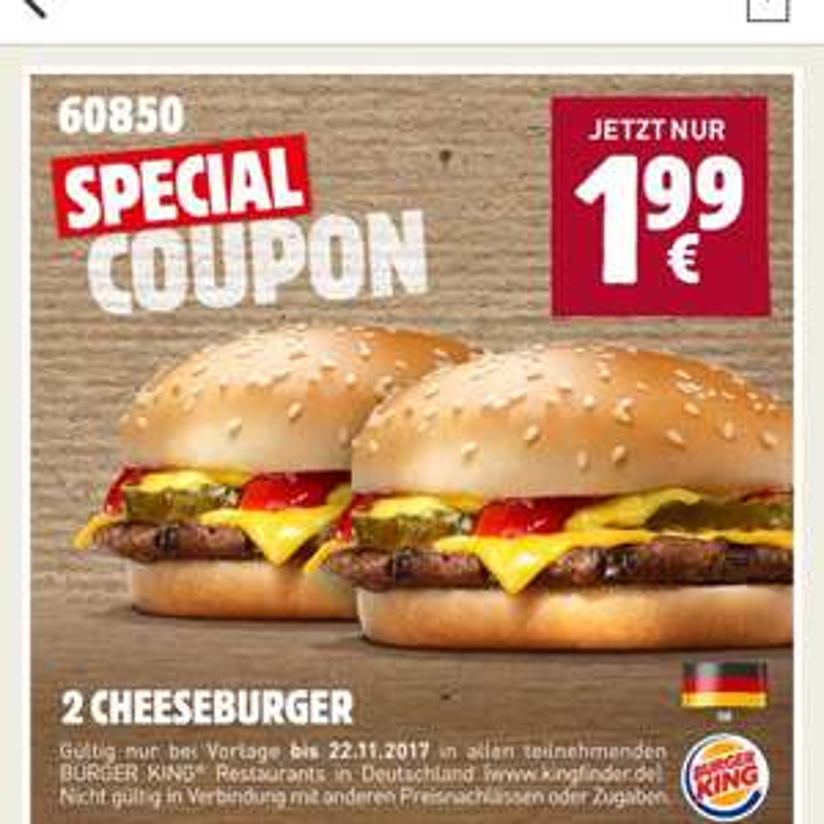 2 Cheeseburger für 1,99€ bei Burger King