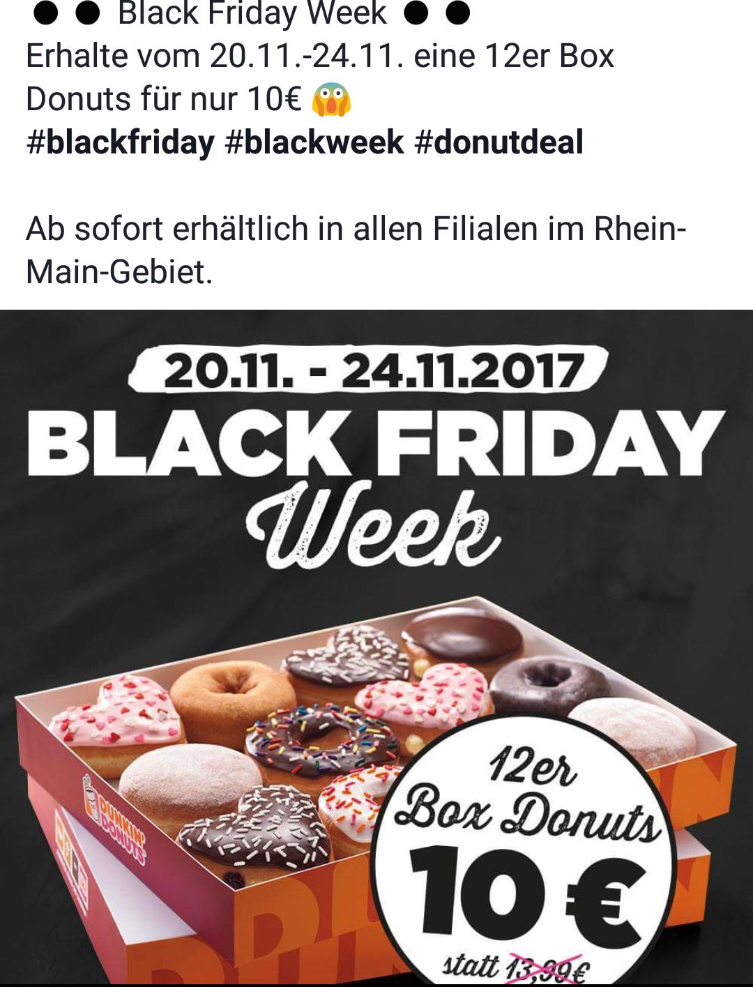 [Lokal Rhein-Main] Dunkin Donuts 12er Box für 10€