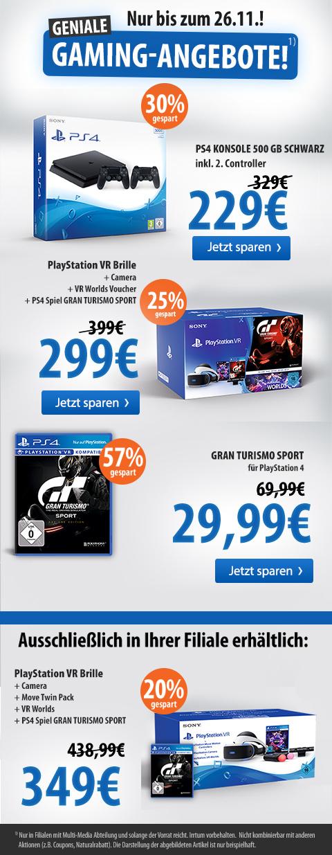 Playstation VR Brille inkl. Gran Turismo Sport, VR Worlds, Kamera und That´s You Gutschein für 299,00 € und mit Twin Pack für 349,00 €, außerdem PS4 + 2. Conroller für 229,00 € und Gran Turismo für 29,99 € @ Müller on/-offline