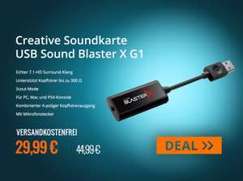 Creative Soundkarte USB Sound Blaster X G1 für 29,99 - Portable Soundkarte (mit 7.1 und Kopfhörerverstärker)