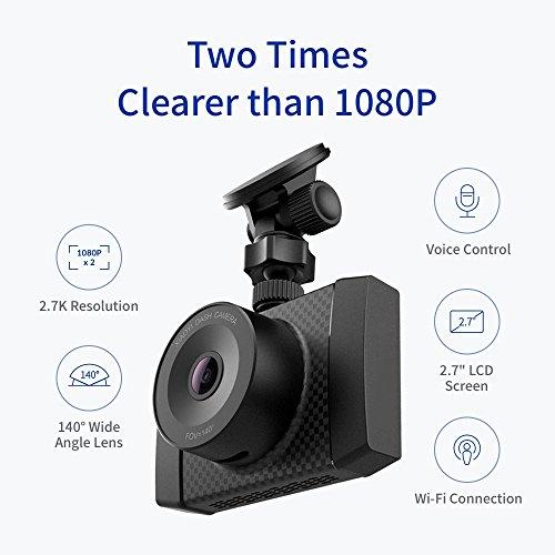 YI DashCam 2,7K Auflösung 140° Weitwinkel (2,7 Zoll Display) MEMS 3-Achse G-Sensor, Sprachsteuerung (Amazon Blitzangebot)