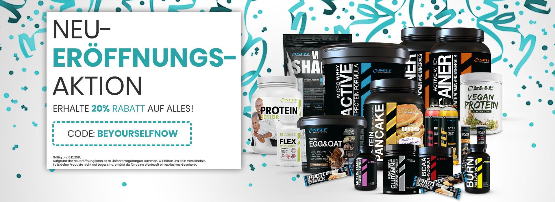 20% Rabatt auf alles bei be:yourself - Sportnahrung, Supplements, Vitamine etc.