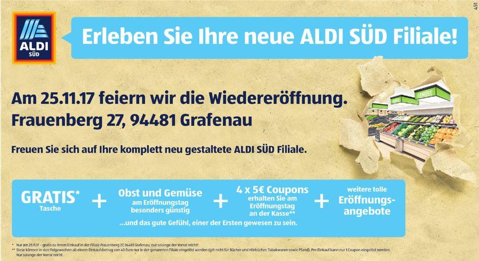 [Regional Aldi Süd Frauenberg 27 in Grafenau-Nur am 25.11] 4 x 5€ Coupons für jeden Kunden an der Kasse + Gratis Tasche