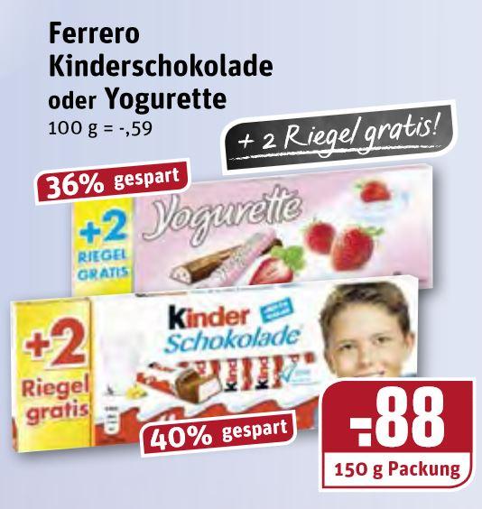 """Rewe """"Dortmund"""" (NRW), Kinder Schokolade und Yogurette 10+2er Packung 0,88€"""