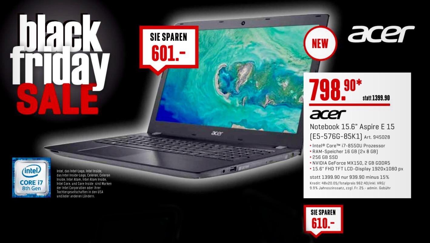 """[Schweiz] Acer Aspire E15 E5-576G-85K1 15,6"""" i7-8550u 265gb ssd - für 686Euro"""