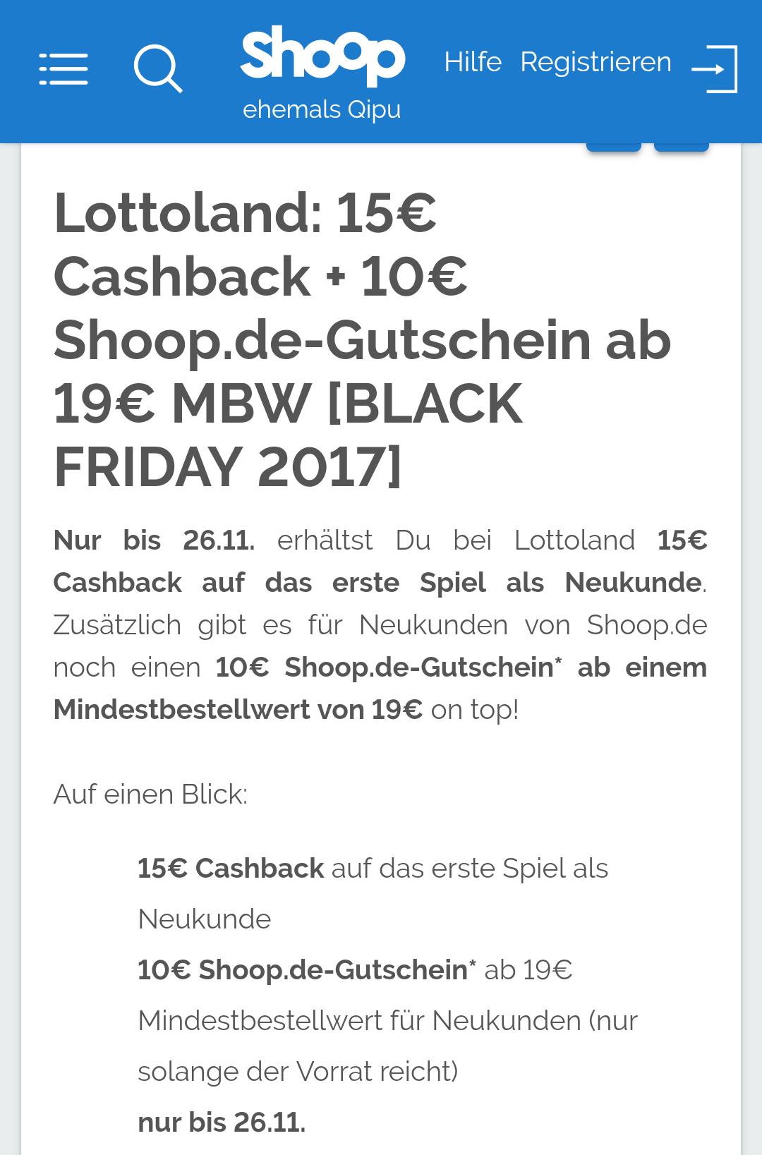 Für Neukunden: Shoop & Lottoland 6€ Gewinn mit 19€ Einsatz und 25€ Cashback