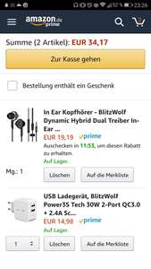 [Amazon] BlitzWolf Dynamic Hybrid Dual Treiber In-Ear Ohrhörer + 2-Port QC3.0 USB-Ladegerät