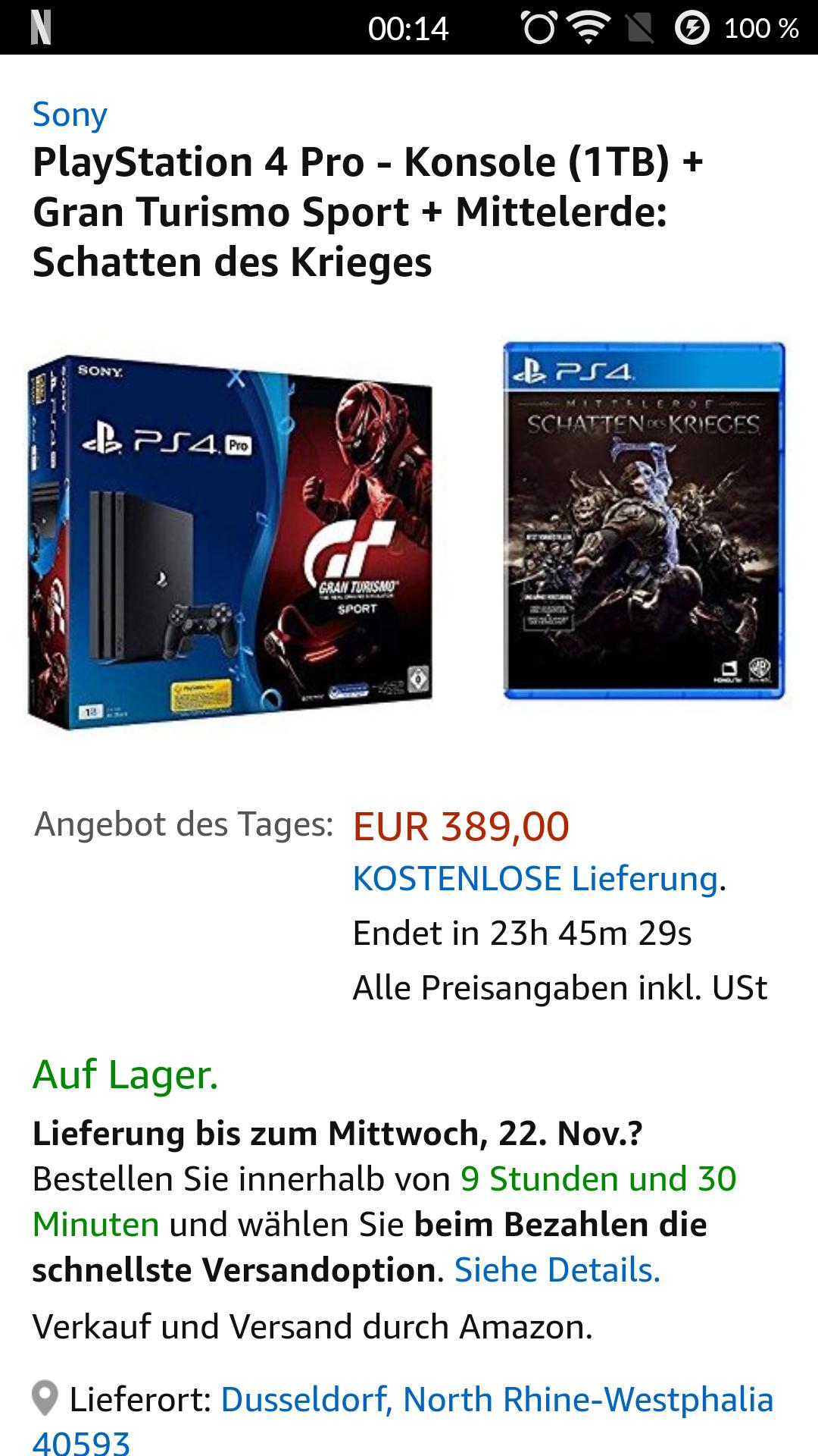 PlayStation 4 Pro - Konsole (1TB) + Gran Turismo Sport + Mittelerde: Schatten des Krieges