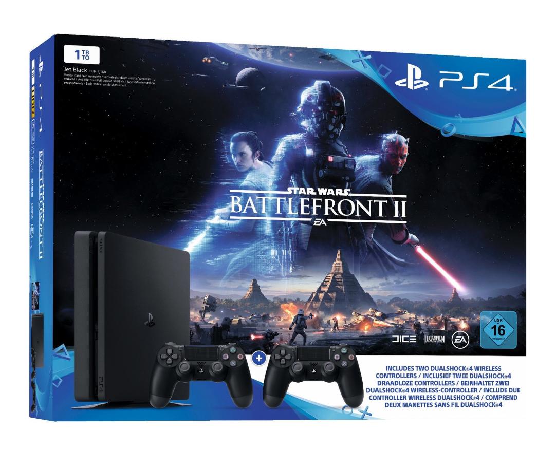 PlayStation 4 - Konsole (1TB, schwarz, slim) inkl. StarWars Battlefront II + 2 DualShock Controller @Amazon