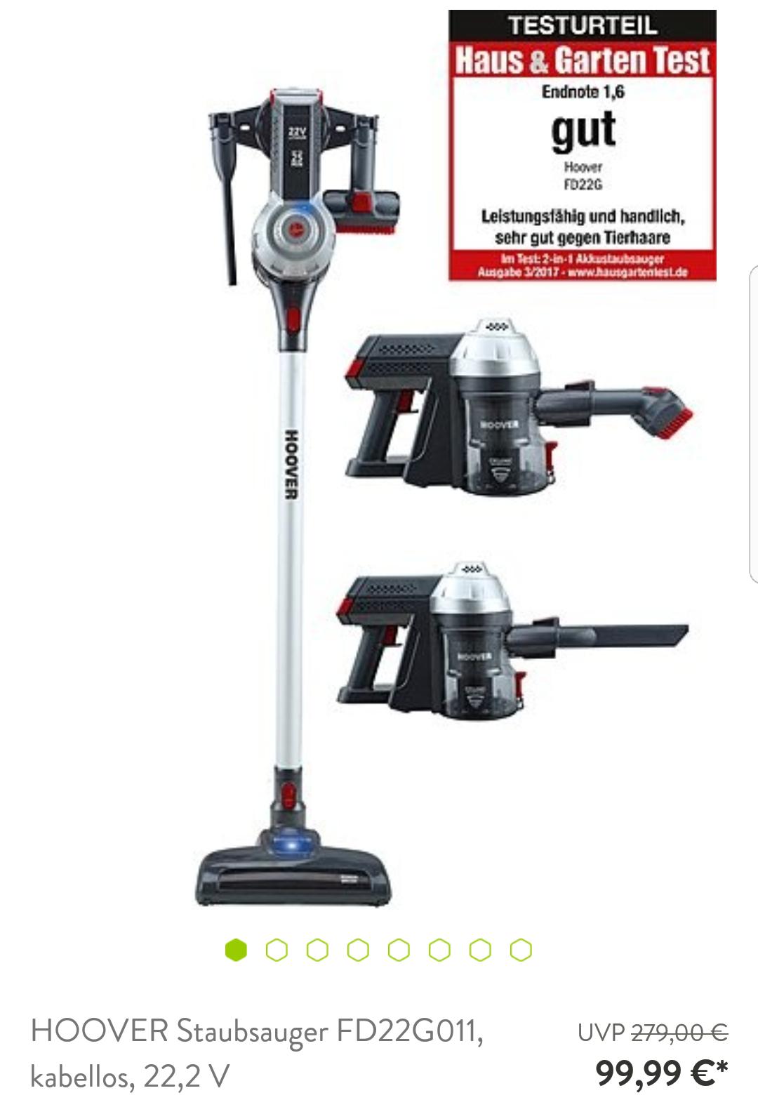 Hoover kabelloser Staubsauger FD22G011 für 99,99€
