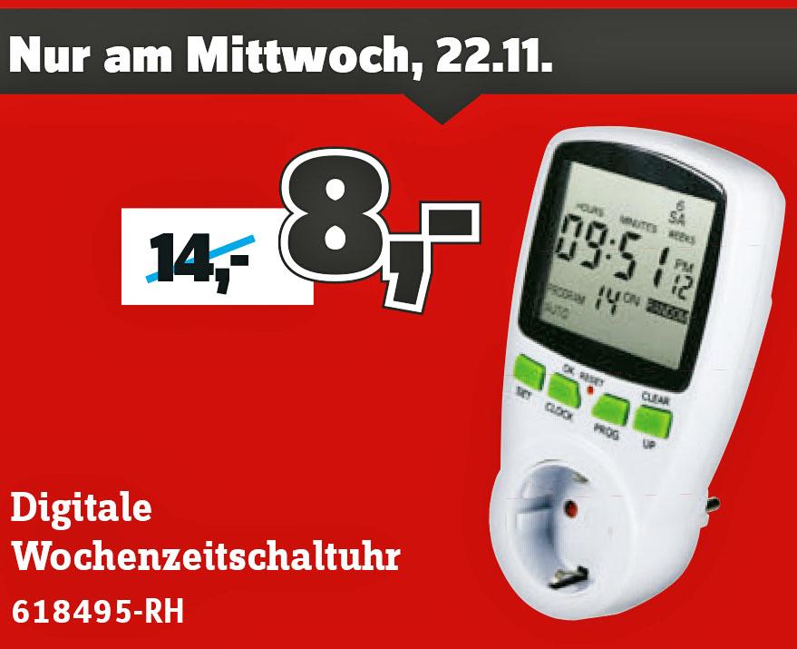 Steckdosen-Zeitschaltuhr digital Wochenprogramm für nur 8 € @ Conrad Filiale