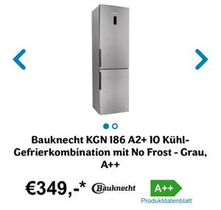 Bauknecht KGN 186 A2+ IO Kühl-Gefrierkombination mit No Frost - Grau, A++