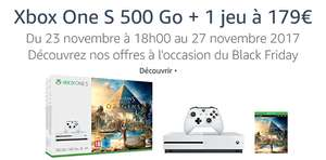 [Amazon.fr] BlackFriday ab 23.11., 18 Uhr: XBox One S 500 Gb + 1 Spiel z. B. Assassins Creed Origins für 187,03,–