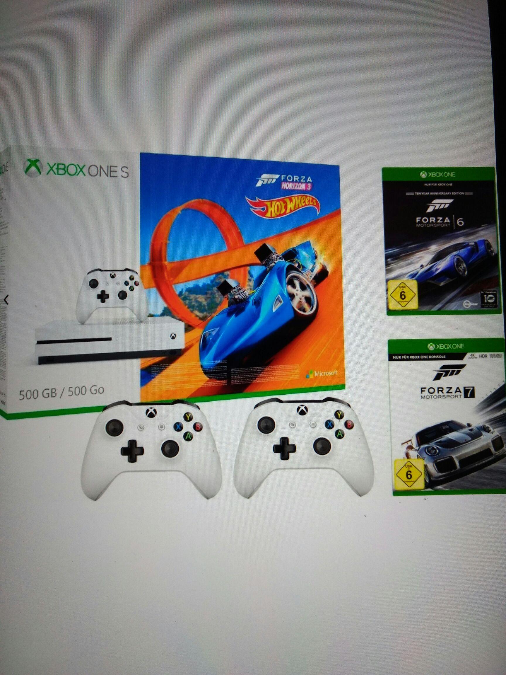 Xbox One S 500 GB + Forza Horizon 3 (DLC) + Hot Wheels (DLC) + Forza 6 + Forza 7 + 2. Controller