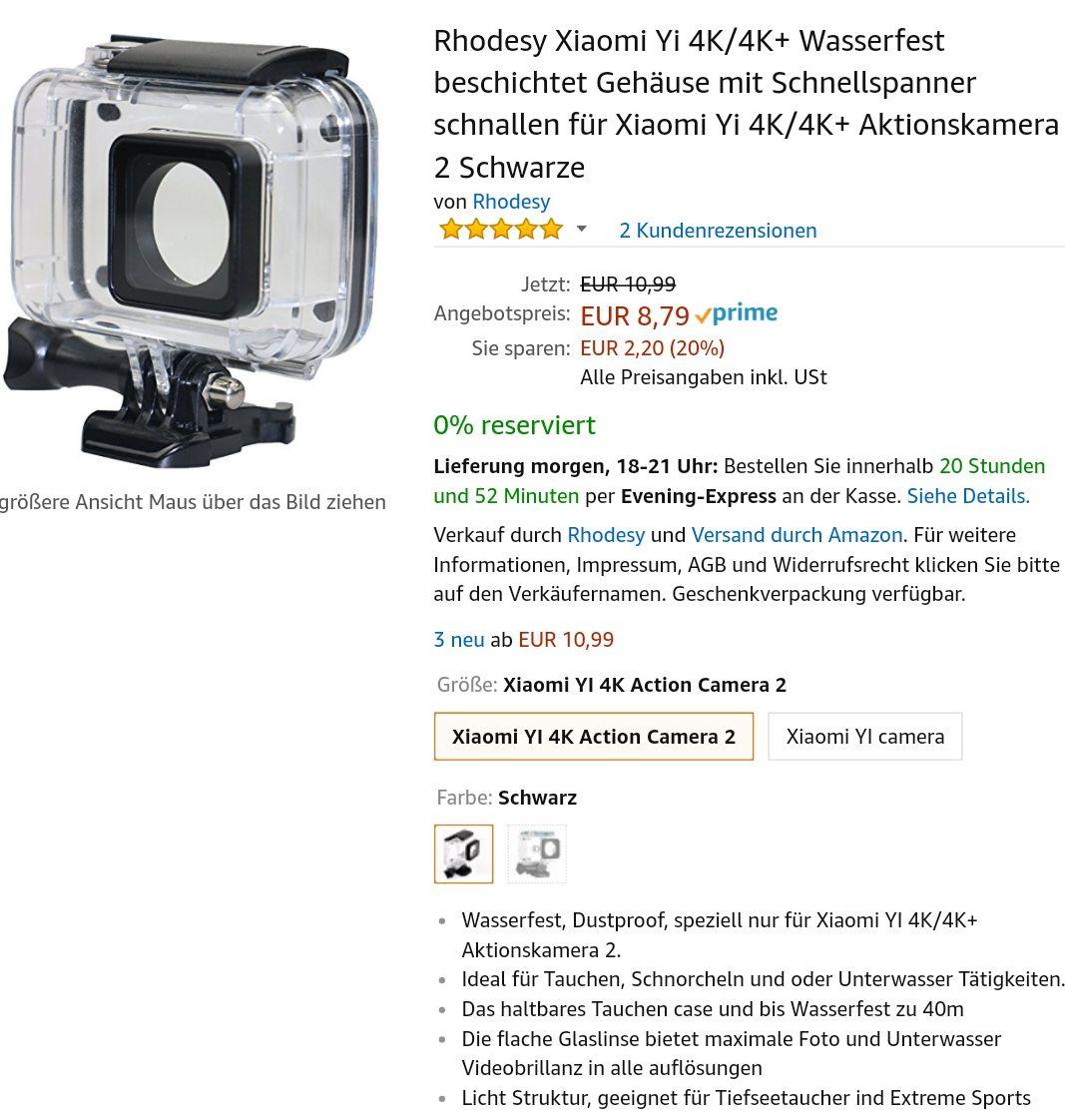 Xiaomi Yi 4k / 4k Plus Actioncam Unterwasserhülle UW Case