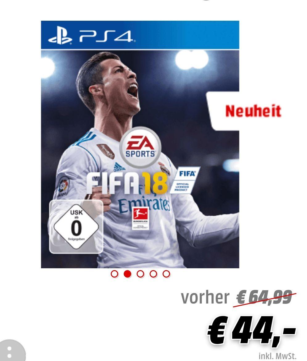FIFA 18 für 44€ bei Mediamarkt. Amazon ist zwar schon bei 39€ aber nicht jeder ist bei Amazon