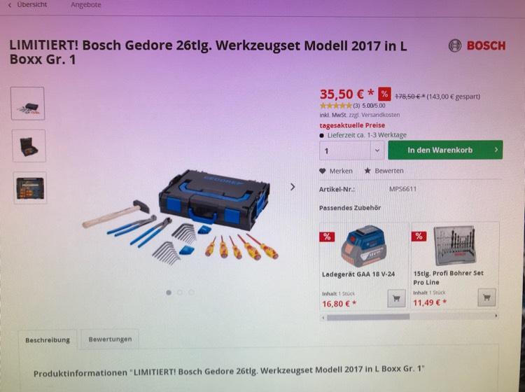 Bosch Gedore Werkzeugset 2017 26-teilig