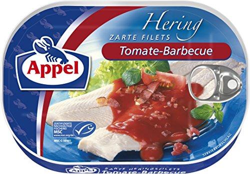 Appel Heringsfilets, zarte Fisch-Filets Tomate-Barbecue, MSC zertifiziert, 10er Pack (10 x 200g Dose)