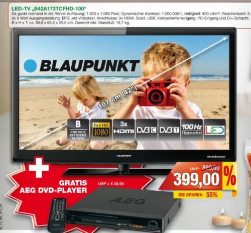 Blaupunkt 42 Zoll LED TV(Full Hd, 3*Hdmi,Dvb-c-t,100hz,) + AEG DVD Player in Gelsenkirchen  bei Marktkauf inkl. Gutscheine 374€