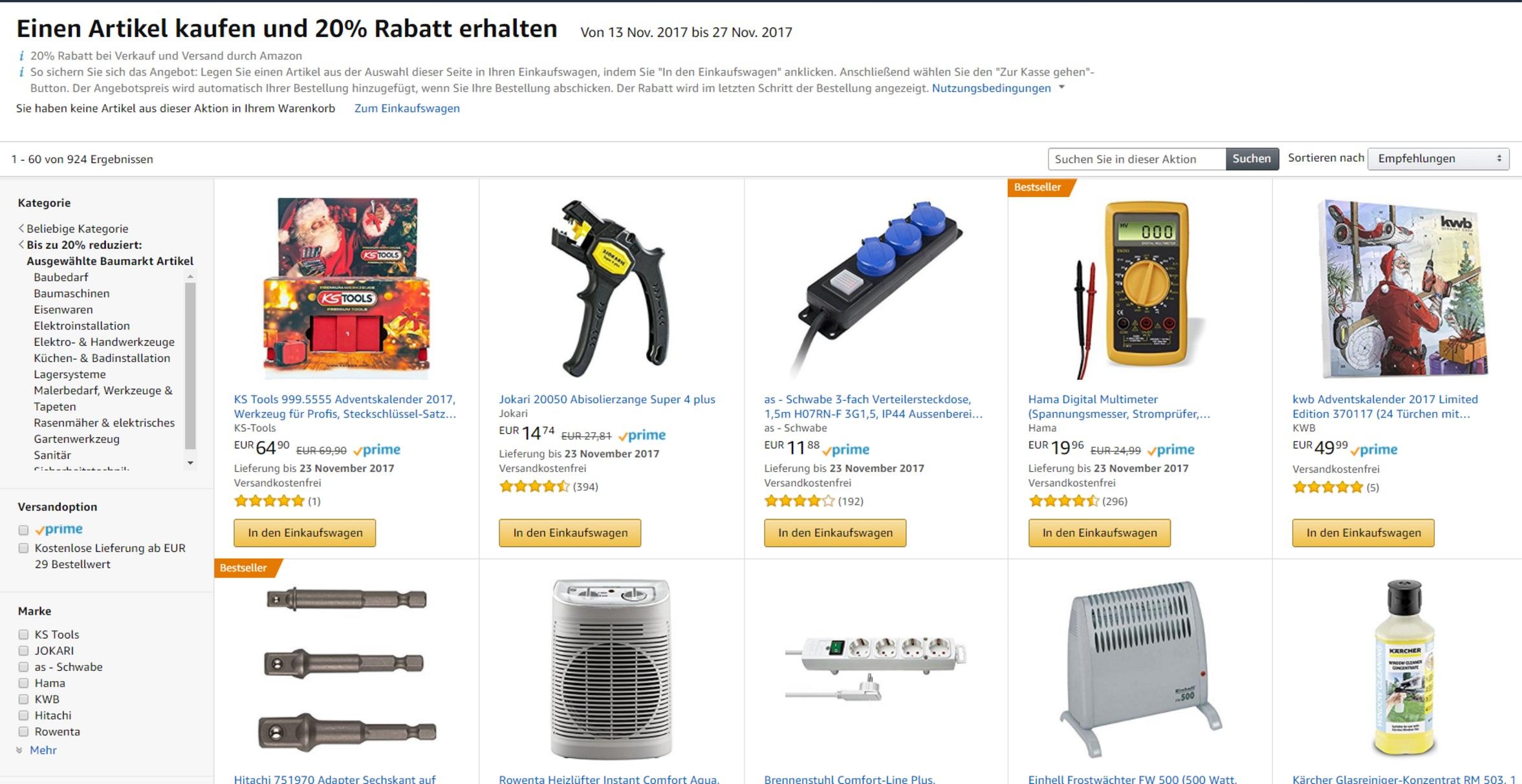 Amazon: 20 % Aktion auf einige Baumarktartikel