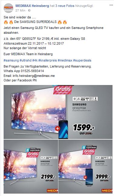 Samsung Superdeals bei Medimax in Heinsberg 65Q7F + Galaxy S8 für 2199,- €