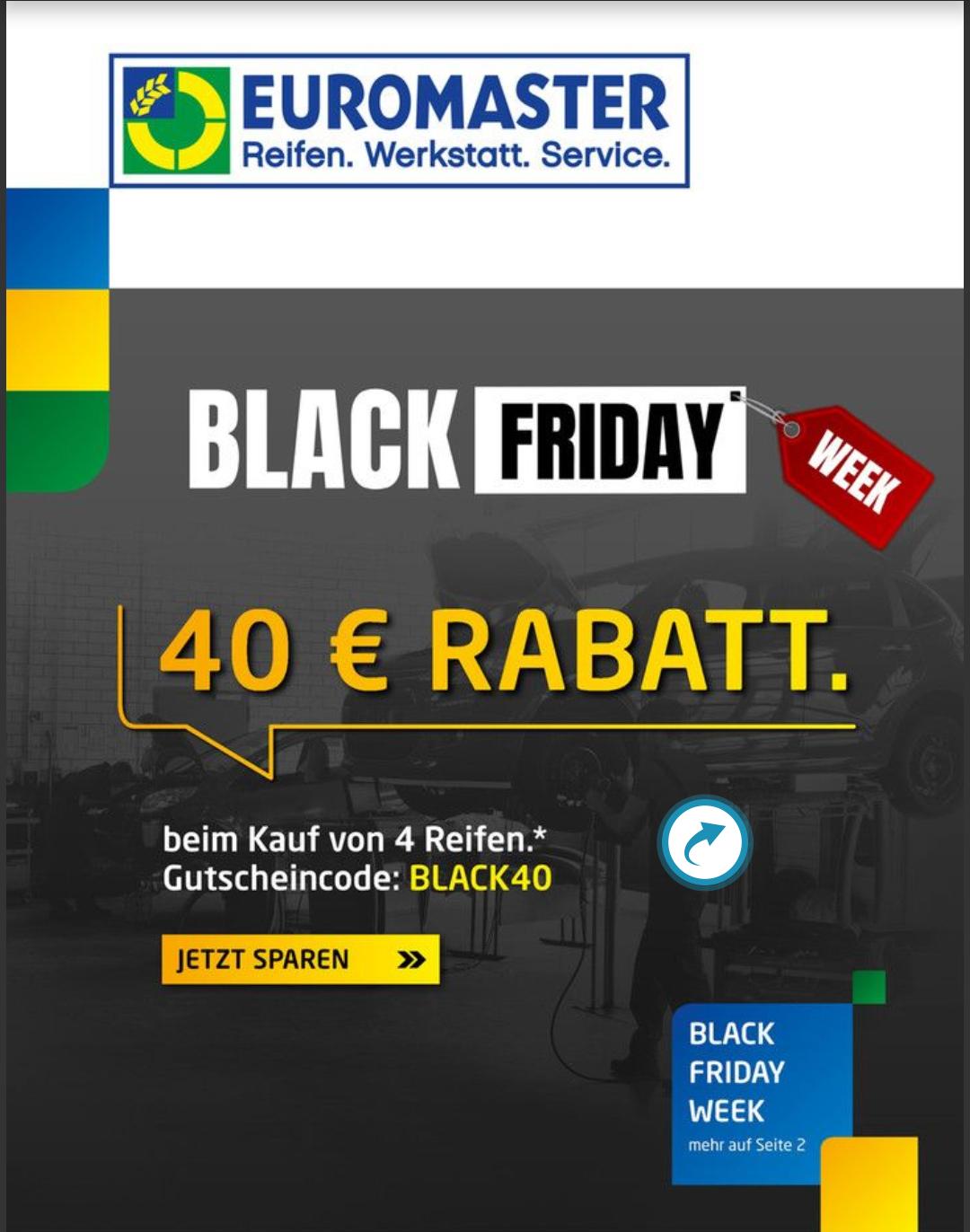 Euromaster Bundesweit 40€ Rabatt auf 4 Reifen mit Montage auf Inspektionen gibt es 50€ Rabatt