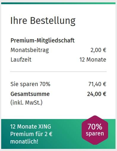 XING Premium für 2 Euro pro Monat bei 12 Monaten Laufzeit