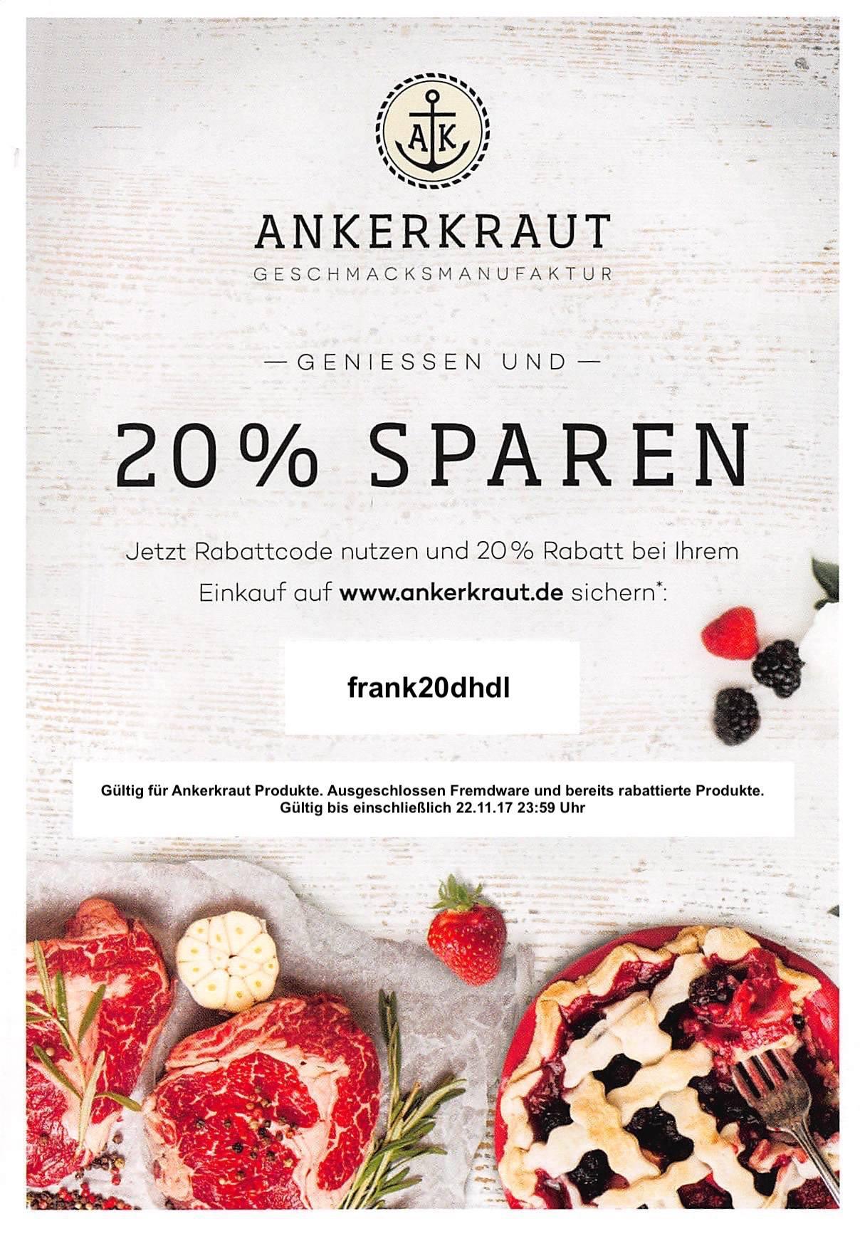 20% Rabatt auf alle Ankerkraut-Gewürze