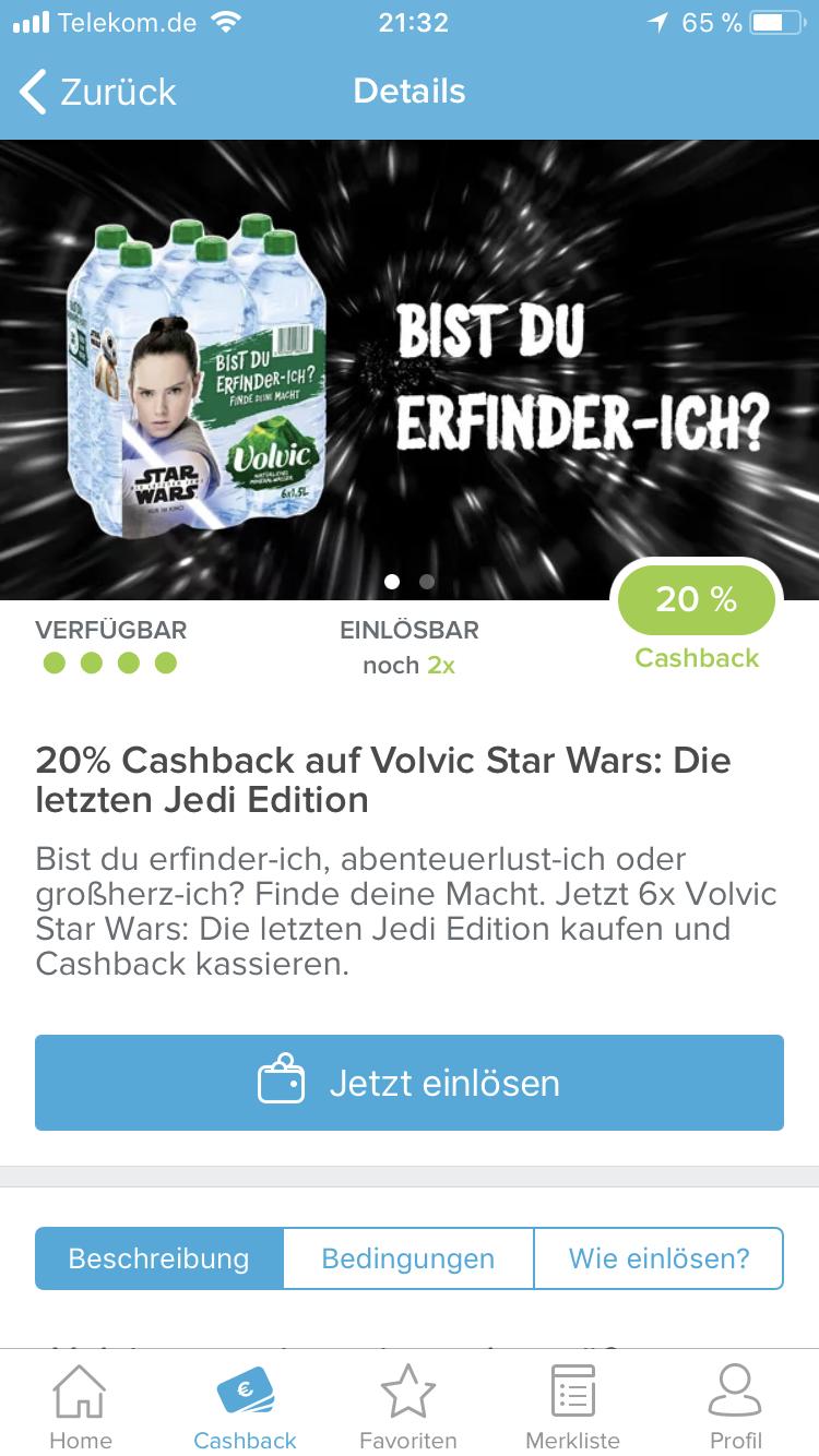 20% Cashback auf Volvic Star Wars: Die letzten Jedi Edition via Marktguru App