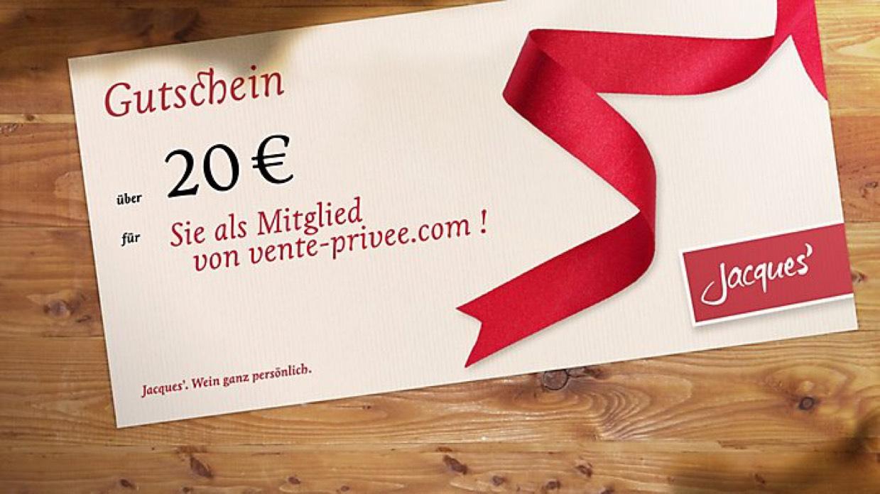 20€ Gutschein Jacques Weindepot bei vente-privee für 10€