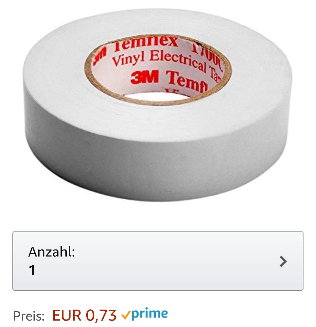 [Prime] 3M Vinyl Elektro-Isolierband 10m für 0,73€